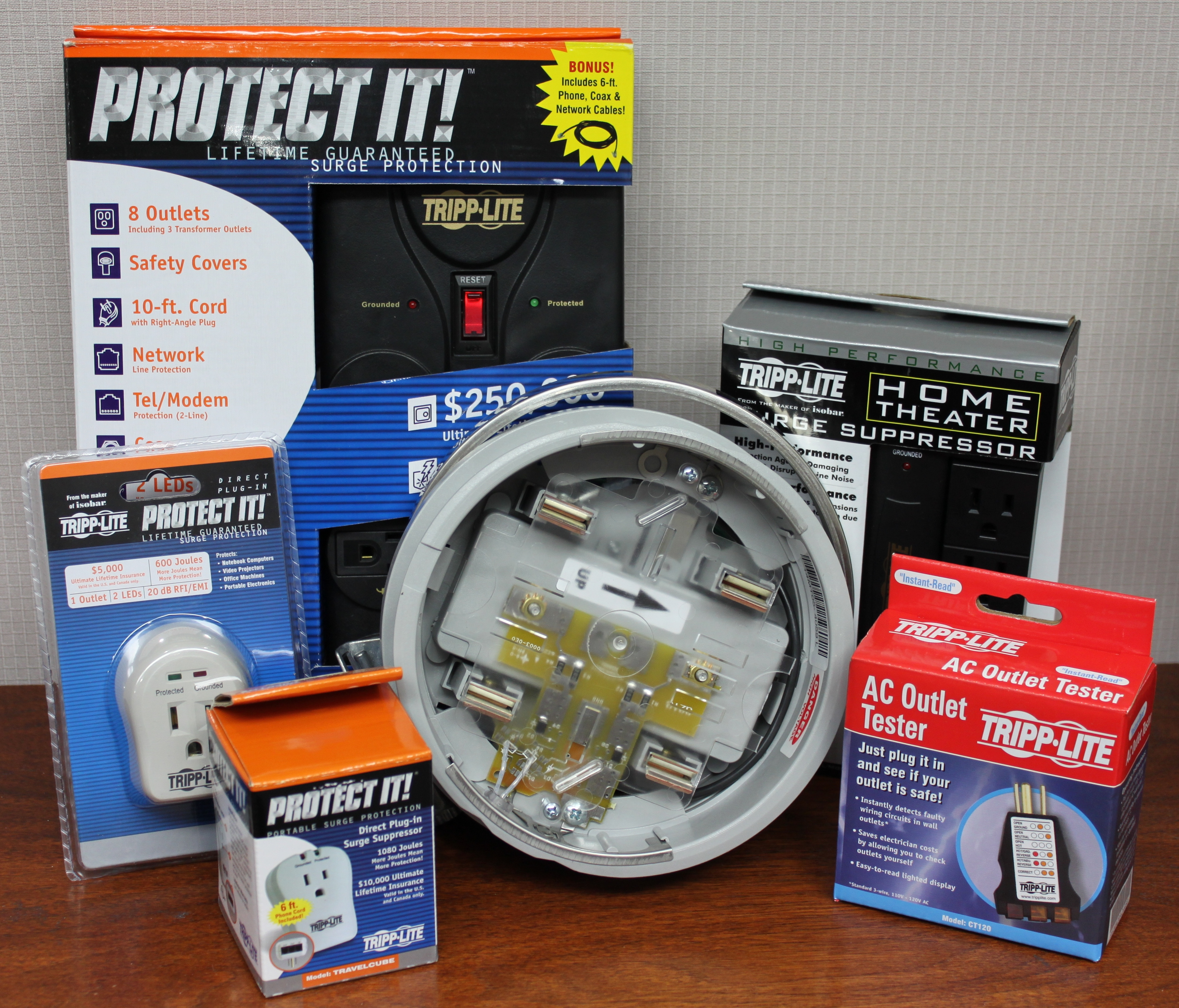 Items included in the surge protection kit