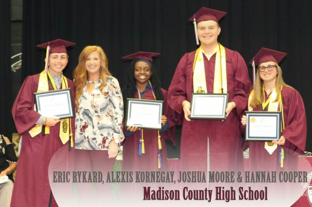 Madison County High School Scholarship Winners - Eric Rykard, Alexis Kornegay, Joshua Moore, and Hannah Cooper