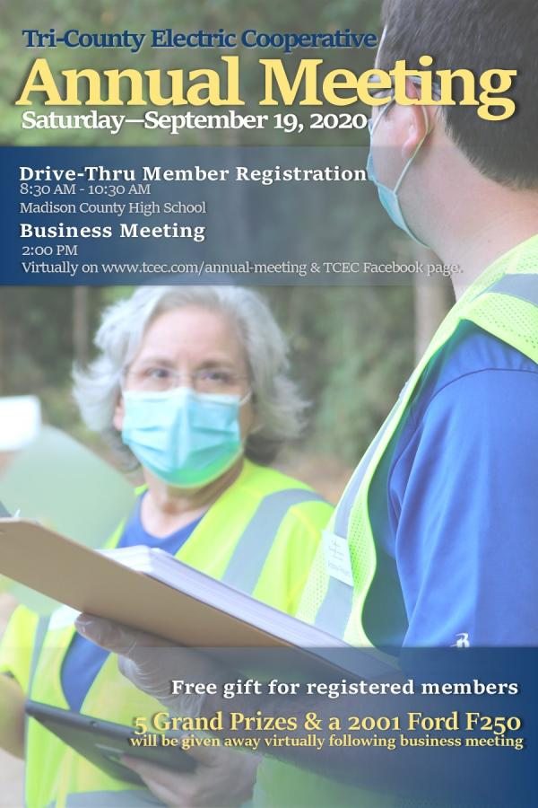 Annual Meeting Saturday - September 19 - Drive Thru Registration at 8:30AM and Virtual Meeting at 2
